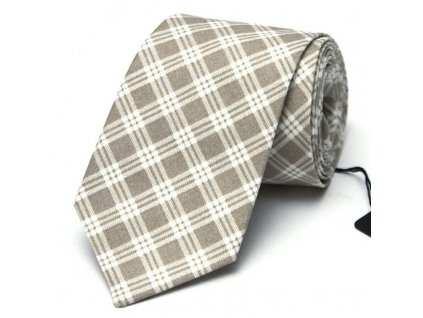 Béžová károvaná kravata