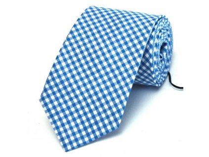 Modrobílá károvaná kravata