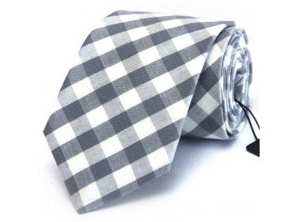 Šedobílá károvaná kravata
