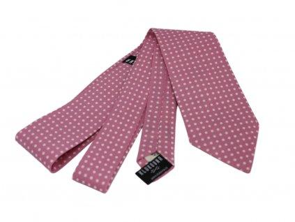 Růžová kravata s bílými puntíky