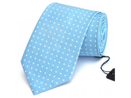 Světle modrá kravata s bílými puntíky