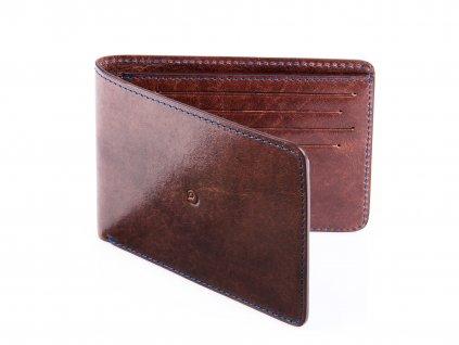 Kožená slim peněženka, Tmavě hnědá