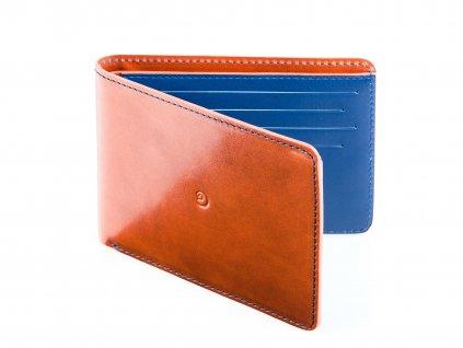 Kožená slim peněženka, Hnědo/Modrá
