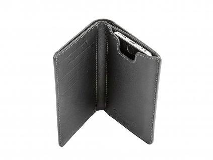penezenka s pouzdrem na iphone 6 6S 7 kozena cerna na karty otevrena