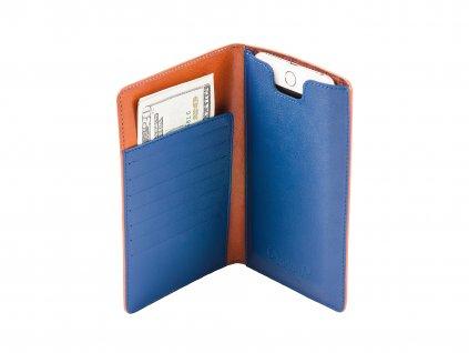 Kožená peněženka s pouzdrem na iPhone 7/6S/6 Plus, Hnědo/Modrá