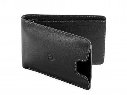 Kožená peněženka s pouzdrem na iPhone SE/5S/5 bifold, Černá