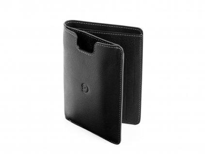 Kožená peněženka s pouzdrem na iPhone SE/5S/5 pocketbook, Černá