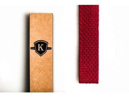 Pletená kravata - Rudá