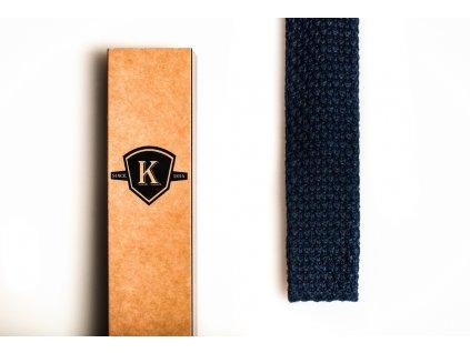 Pletená kravata - Tmavě modrá