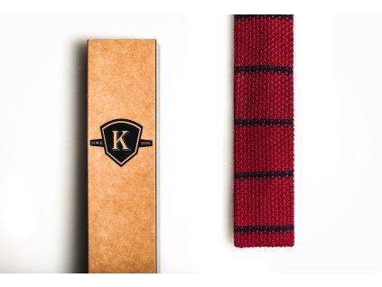 Pletená kravata - Rudá s tmavě modrou