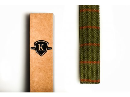 Pletená kravata - Zelená s hnědou