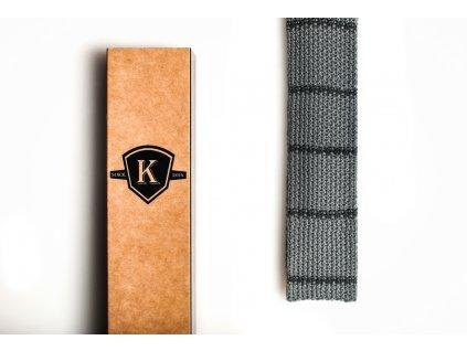 Pletená kravata- Šedá s tmavě šedou