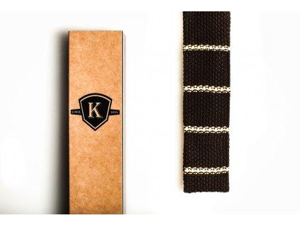 Pletená kravata - Tmavě hnědá s vanilkovou
