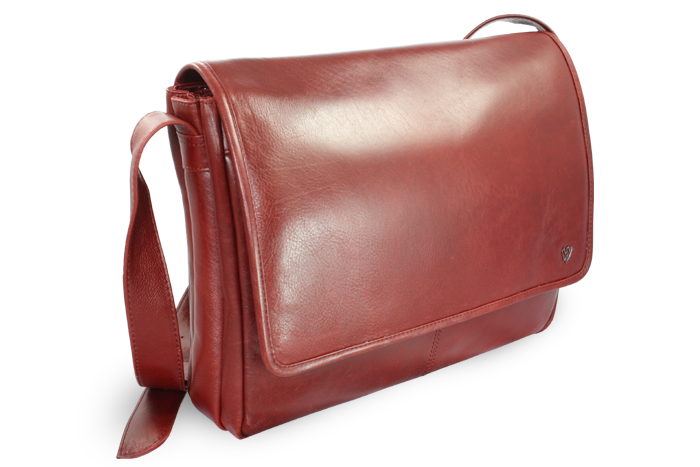 Arwel Kožená taška na notebook, Červená