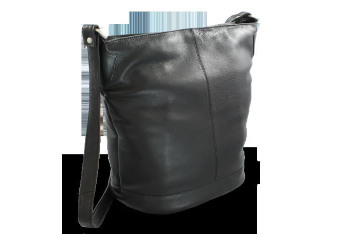 Arwel Kožená zipová kabelka, Černá