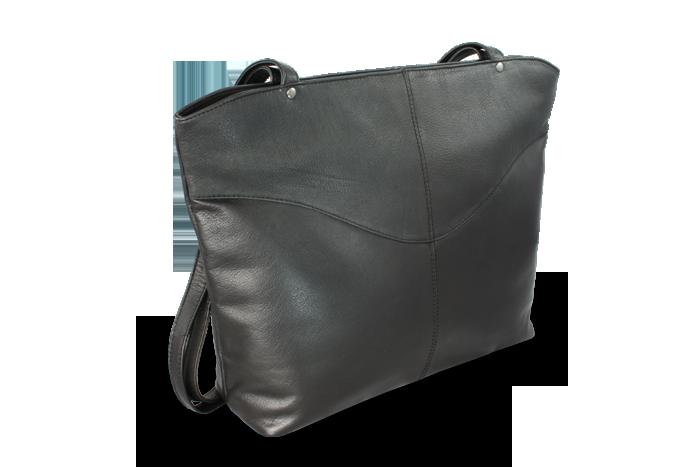 Arwel Kožená zipová kabelka se dvěma popruhy, Černá
