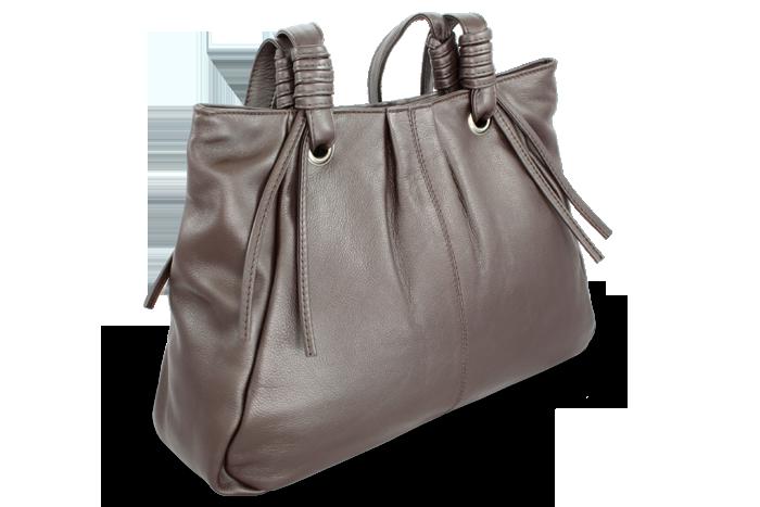 Arwel Kožená zipová kabelka se dvěma popruhy, Tmavě hnědá