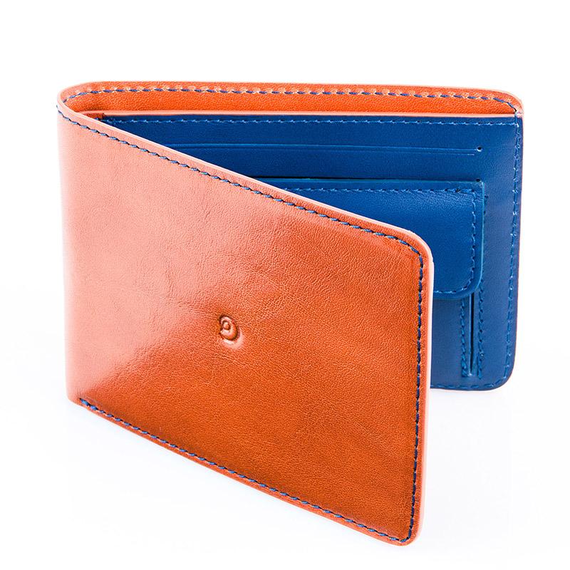 Danny P. Pánská kožená peněženka, Hnědo/Modrá