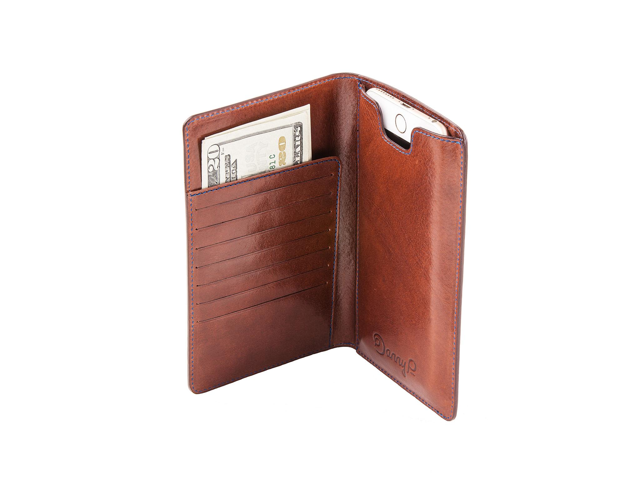 Danny P. Kožená peněženka s pouzdrem na iPhone 7/6S/6 Plus, Tmavě hnědá