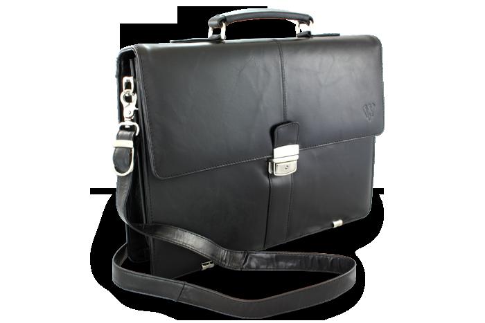 """Arwel Černá kožená aktovka s přihrádkou pro notebook 13,3"""""""