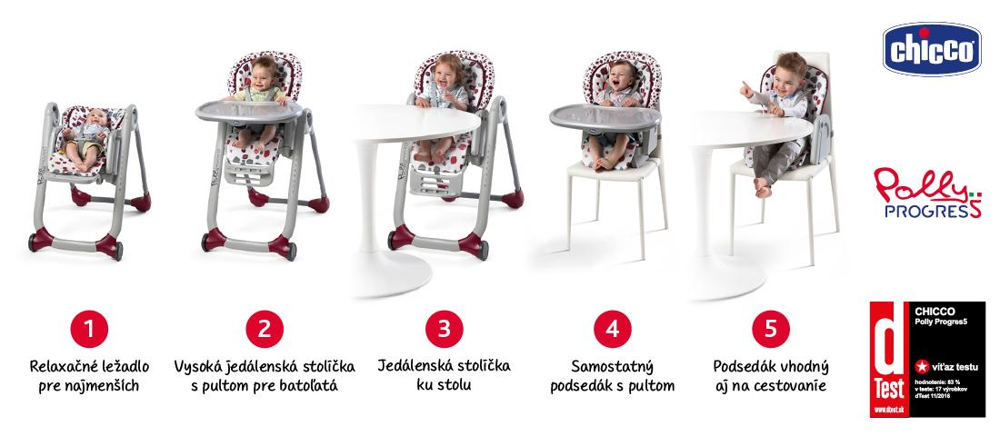 Chicco jedálenská stolička Polly Progress