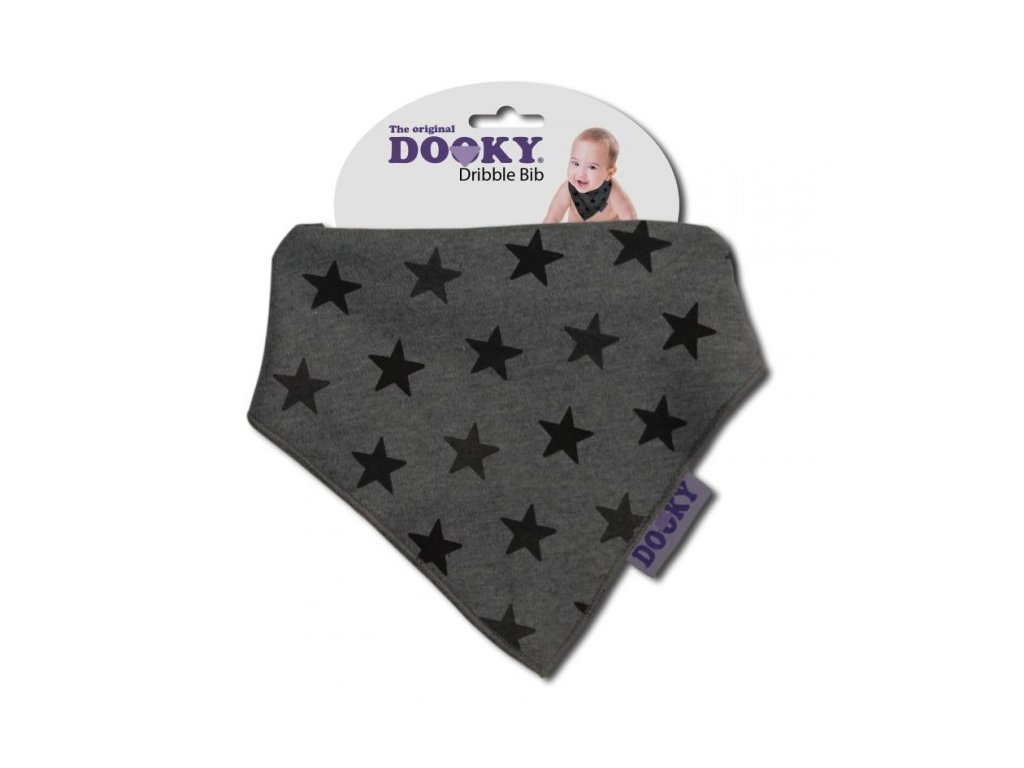 Dooky Podbradník Dribble Bib Grey Star