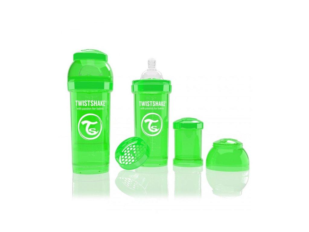 Twistshake Antikoliková fľaša 260ml Green