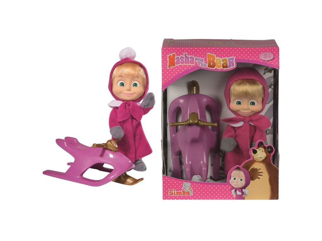 Simba Máša a medveď - bábika Máša a snežný skúter