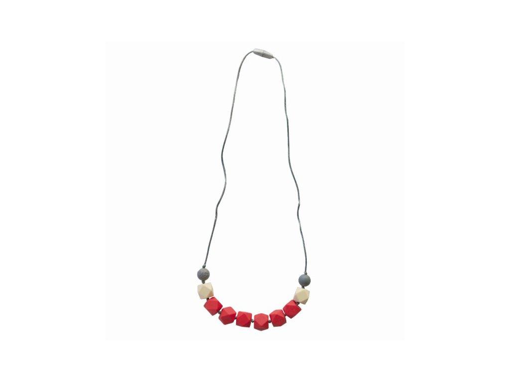 Itzy ritzy Silikónový mama náhrdelník korálkový - coral