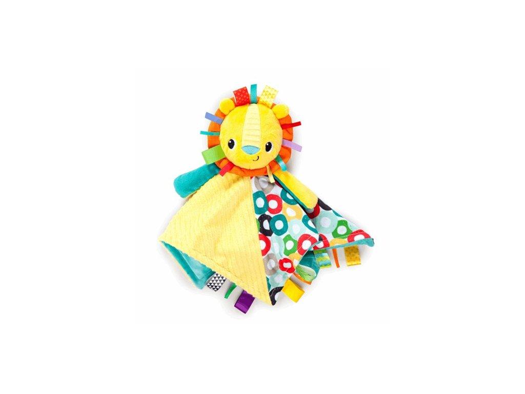 Bright Starts Dečka maznacia s hlavou Cuddle'n Tag lev 35x35cm, 0m+
