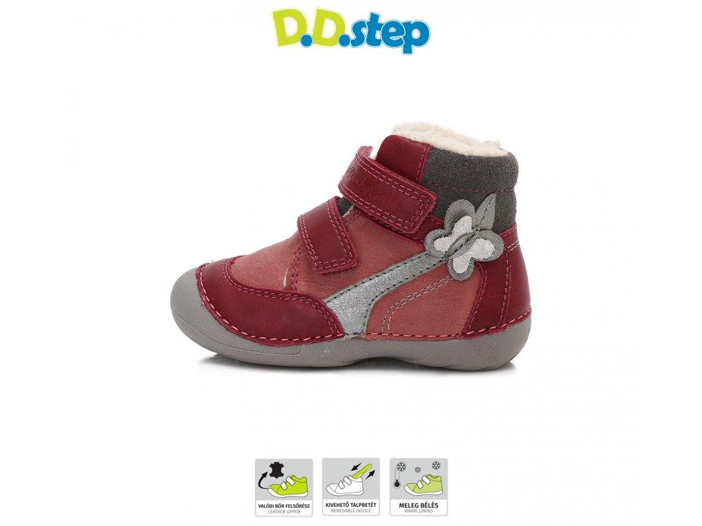 D.D.Step kožené topánky zimné - RED - motýľ