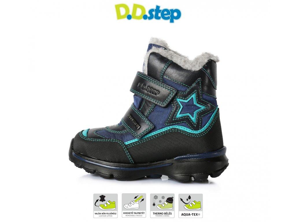 D.D.STEP kožené zimné topánky s membránou - bermuda blue - Kmart.sk d5152198179