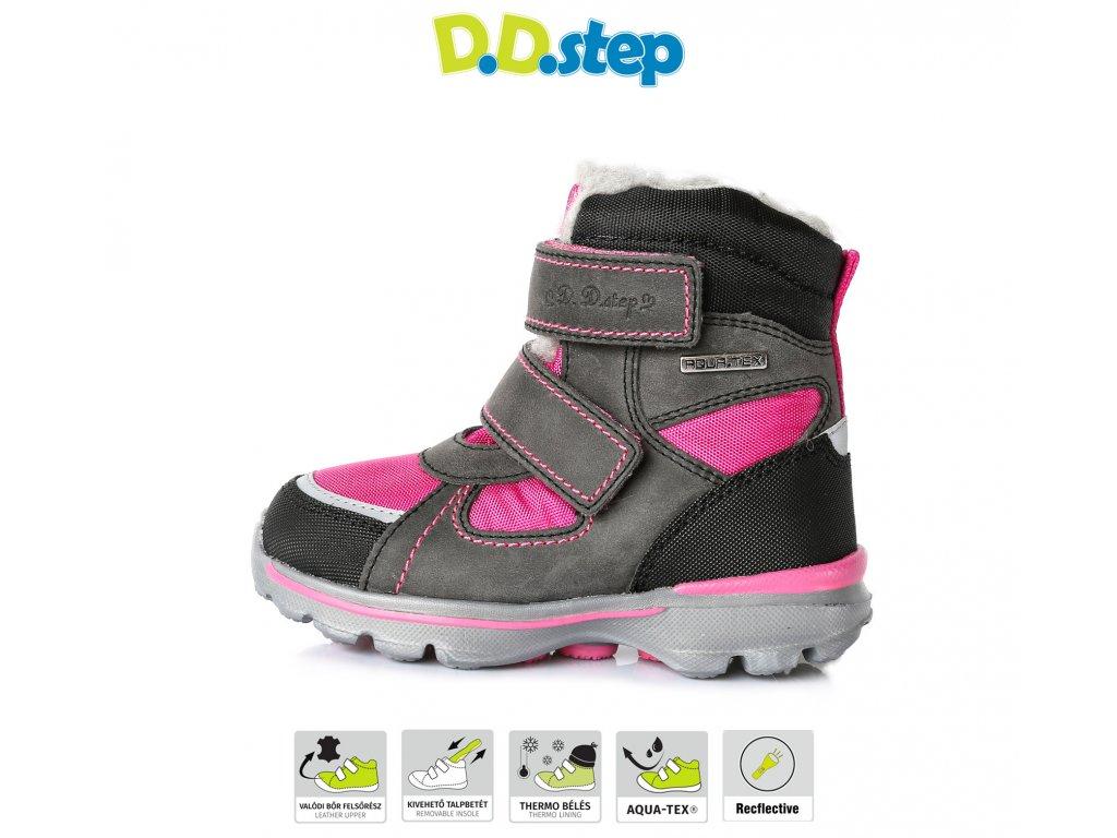 D.D.STEP zimné topánky s membránou - Dark grey