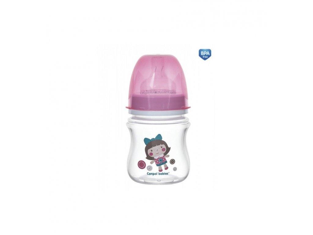 Dojčenská antikoliková fľaša široká EasyStart 120ml 0m+ Toys Ružová