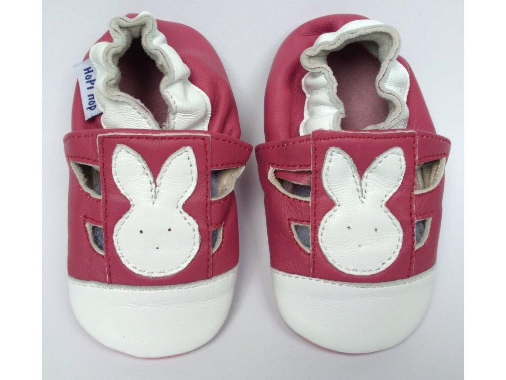 HOPI HOP kožené capačky - zajačik ružový