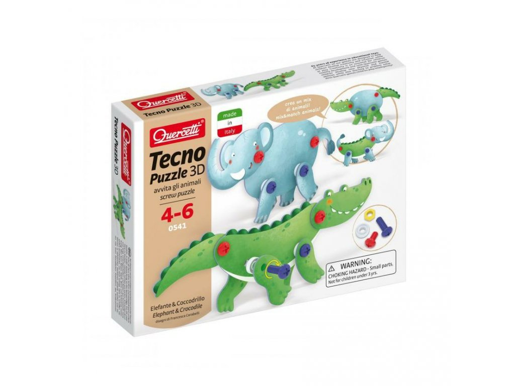 Quercetti Tecno puzzle 3D slon a krokodíl