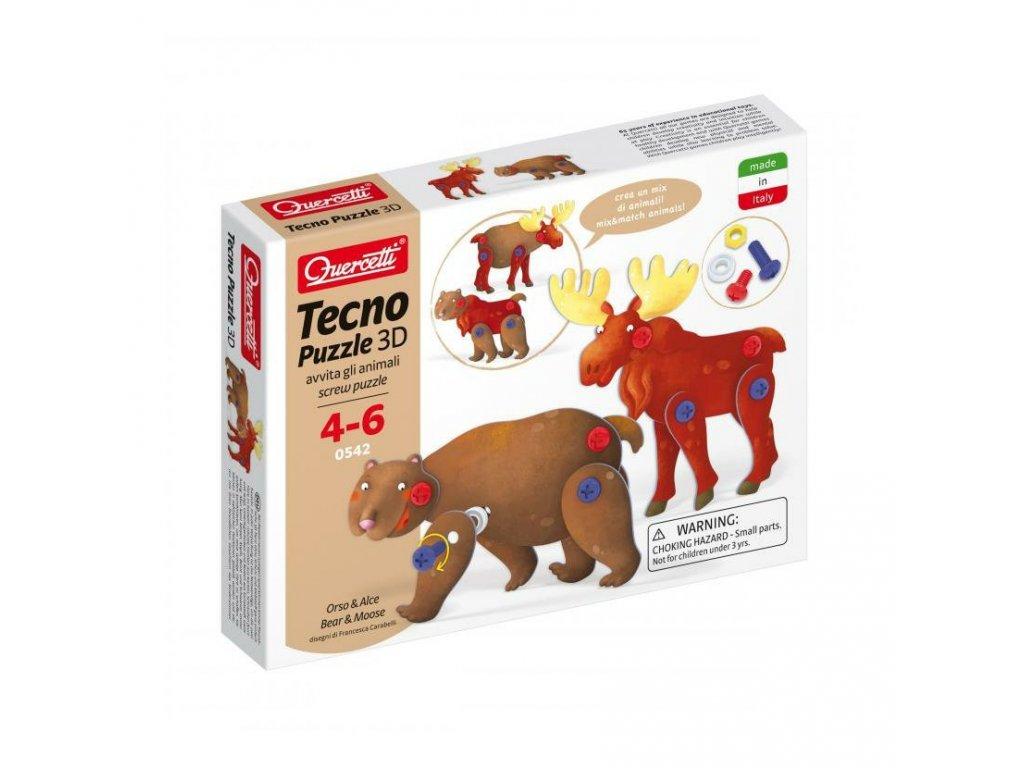 Quercetti Tecno puzzle 3D medveď a los