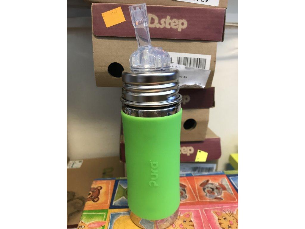 Pura nerezová fľaša so slamkou 325ml zelená