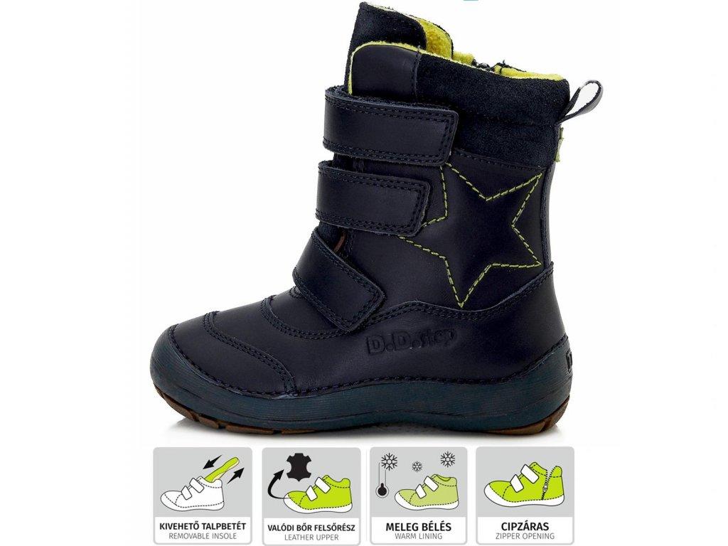 D.D.STEP kožené zimné topánky 023 - royal blue hviezda
