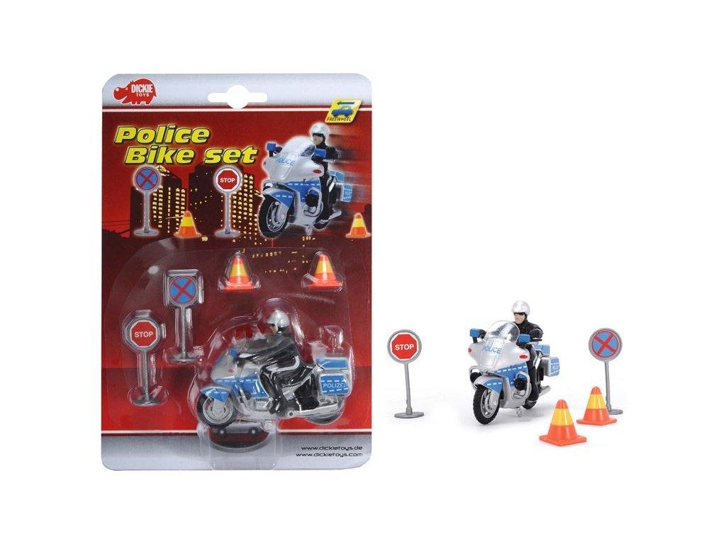 Dickie Policajná motorka 10cm s príslušenstvom