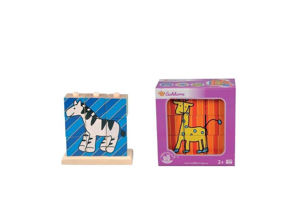 Eichhorn Drevené nasúvacie kocky 9ks so 4 obrázkami