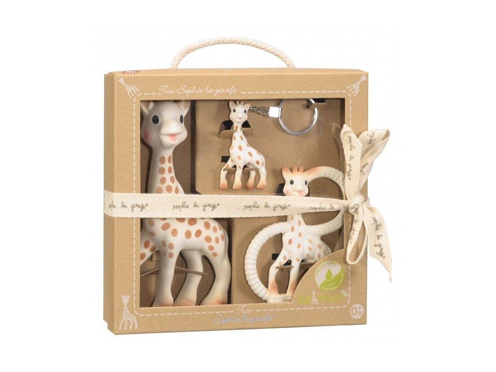 Vulli Trio žirafy Sophie – žirafa Sophie, hryzátko a kľúčenka, Darčekové balenie So´PURE