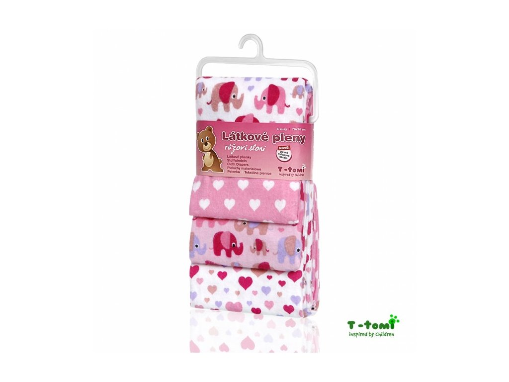 T-tomi Látkové plienky 4ks - ružoví sloni