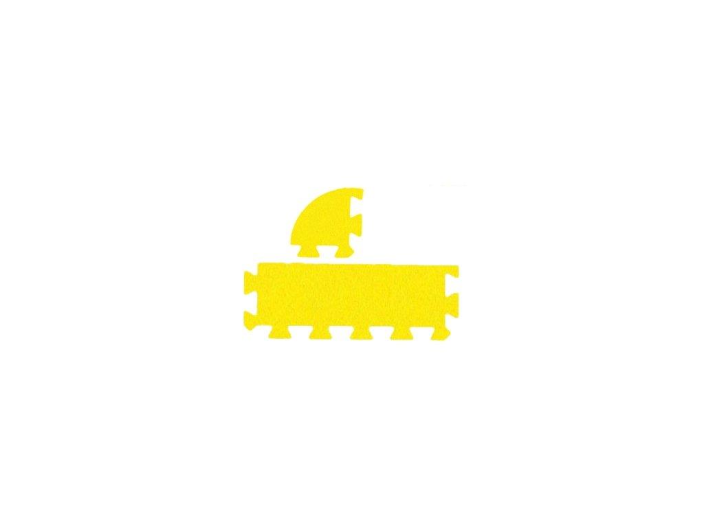 MALÝ GÉNIUS Penový koberec 12 - MAXI - hrubý / Súprava zakončovacích dielov - Jednofarebná - žltá