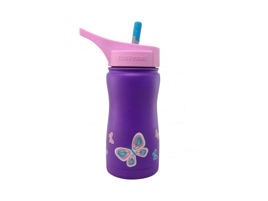 Eco Vessel Detská termo fľaša 370 ml- fialová