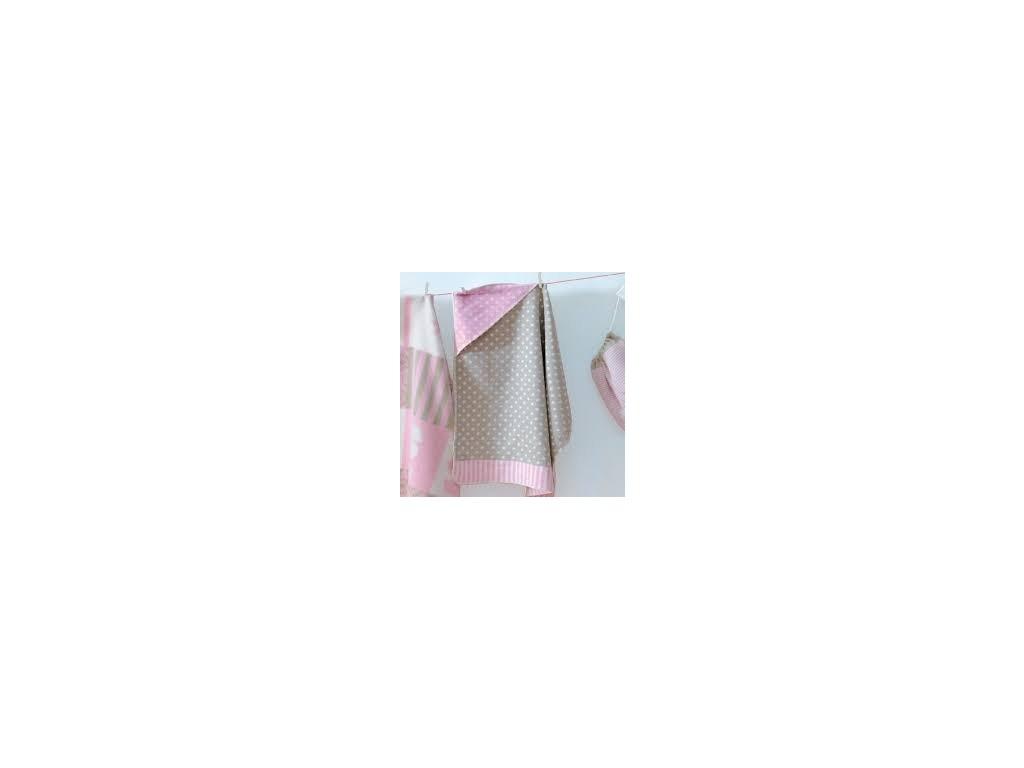 DaviDFussenegger Deka Juwel s kapucňou 80x80 cm bodka ružová