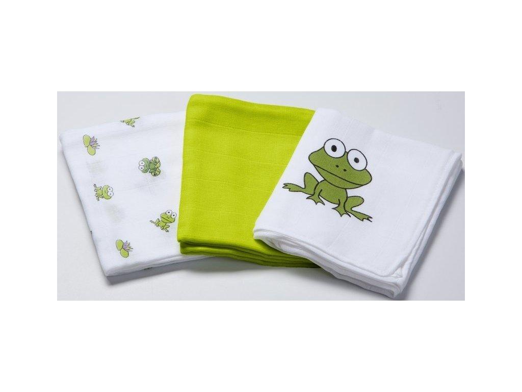Odenwälder BabyNest Bavlnené plienky 3 ks žaba zelená