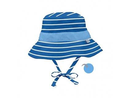 i play. UV obojstranný klobúčik pásiky kráľovská modrá
