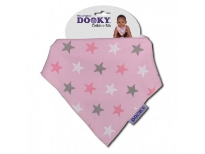 Dooky Podbradník Dribble Bib Pink Star