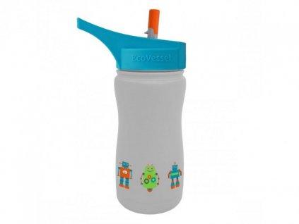 Eco Vessel Detská termo fľaša 370 ml - sivá s robotmi